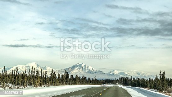 Picture of the the many scenes Alaska has to offer during the winter season.  The Wrangle Mountains loom in the distance.