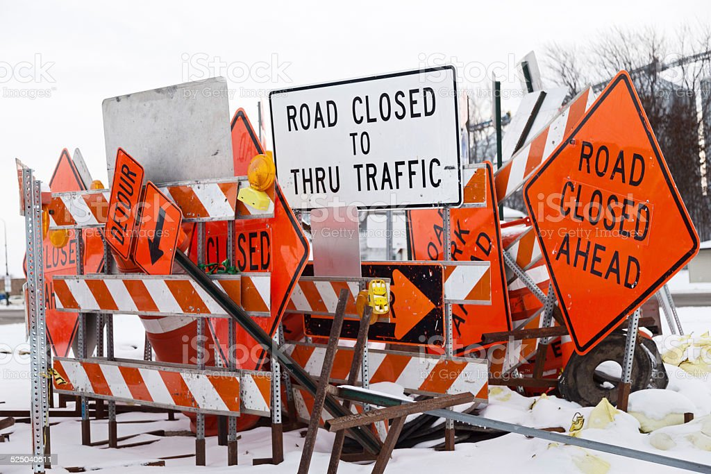 Winter Road Construction Signs stock photo