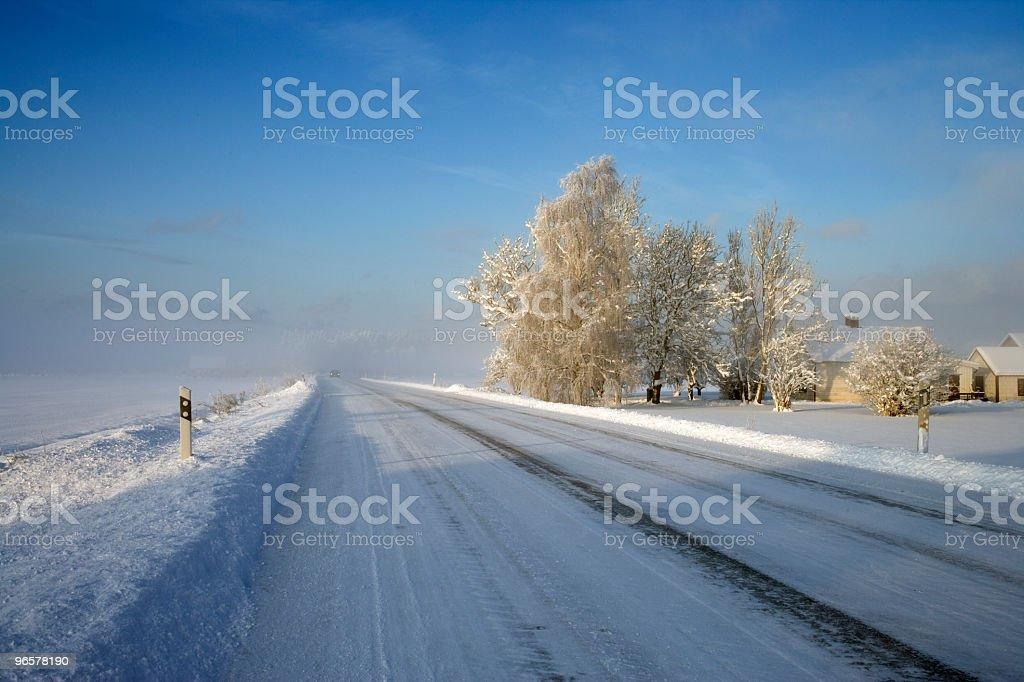 Estrada de Inverno na Suécia - Royalty-free Ao Ar Livre Foto de stock