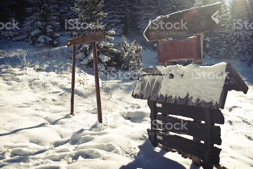 Winter Road Signs royalty-free stock photo
