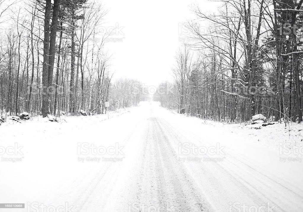 Winter Road Skid Marks stock photo