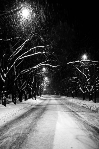 Winter road - Tallinn, Estonia stock photo