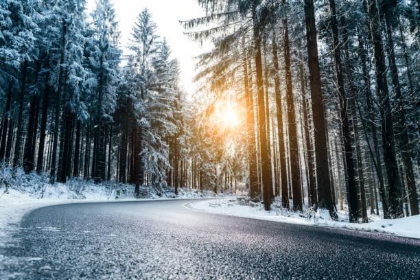 winter-straße durch den wald - nikada stock-fotos und bilder