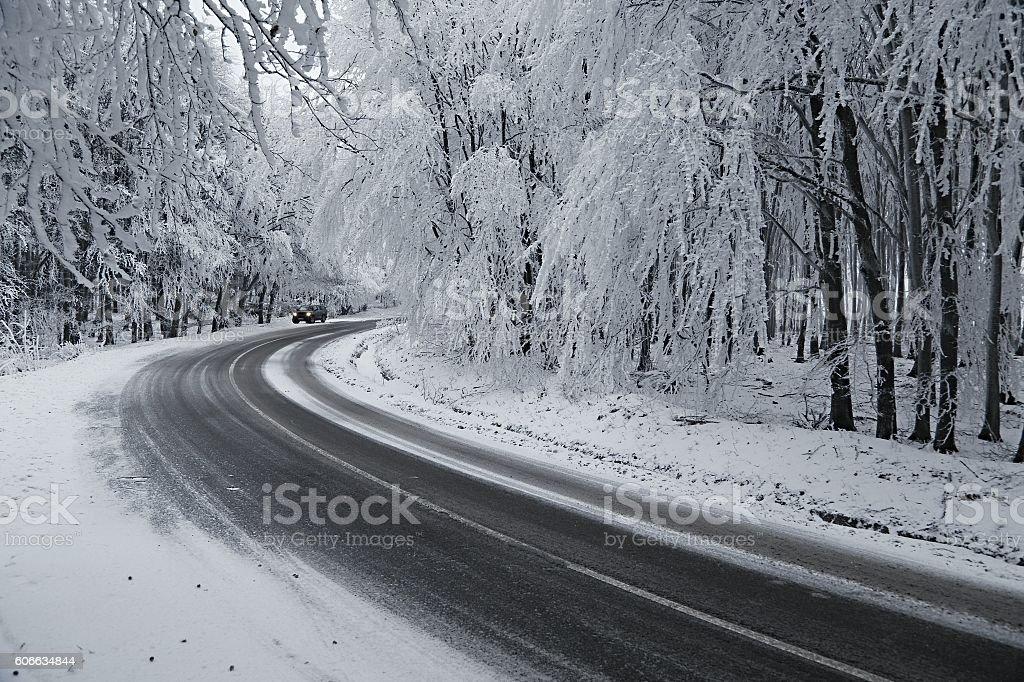 Winter Road Turns stock photo