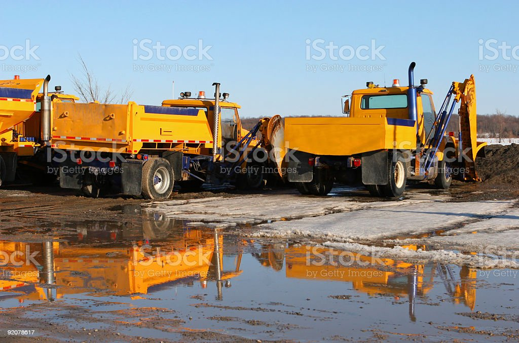 Winter Roadwork Trucks stock photo
