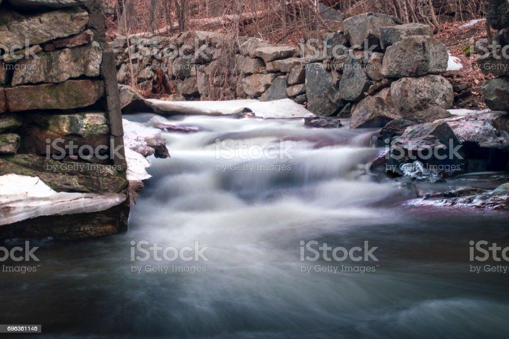 Winter rocky river stock photo