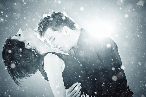winter romance - love at first sight stock photos and pictures