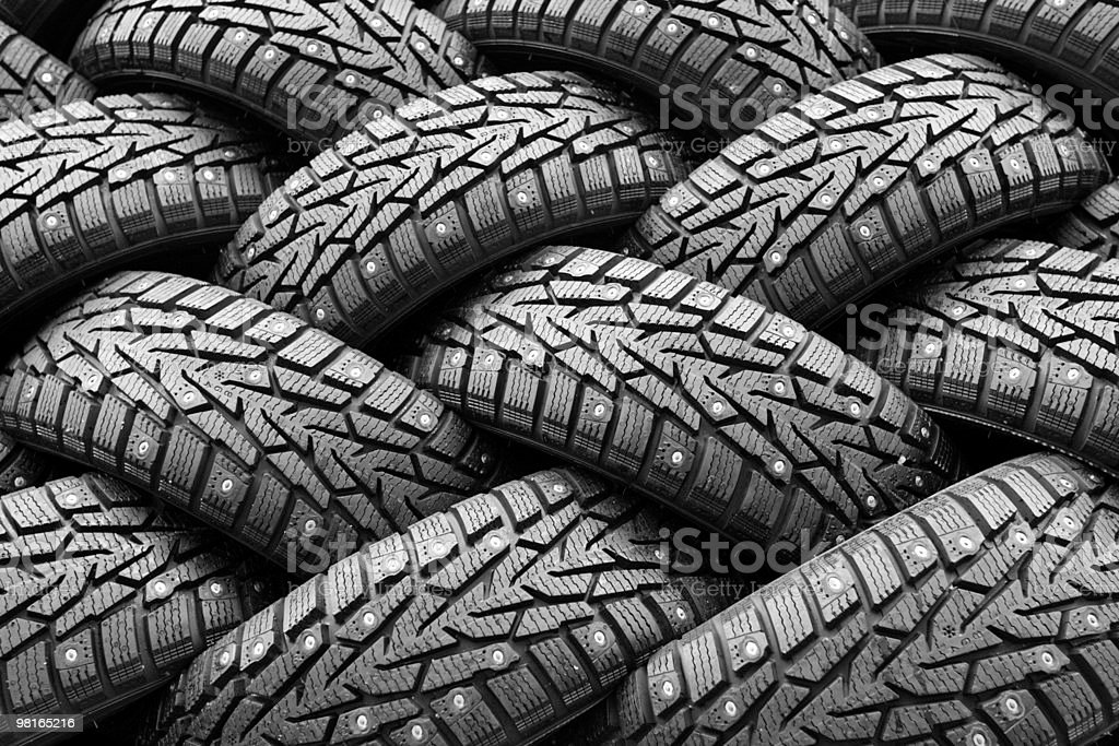 Winter rubber wheels with torns royalty-free stock photo
