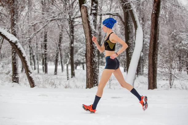 Petite woman naked jogging