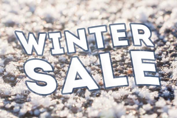 Winter sale text on frozen stock photo