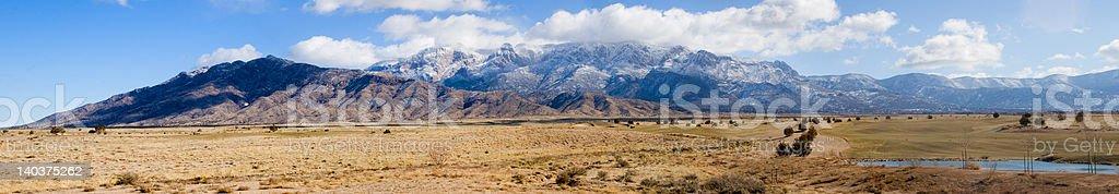 Winter Sandia Mountains panorama stock photo