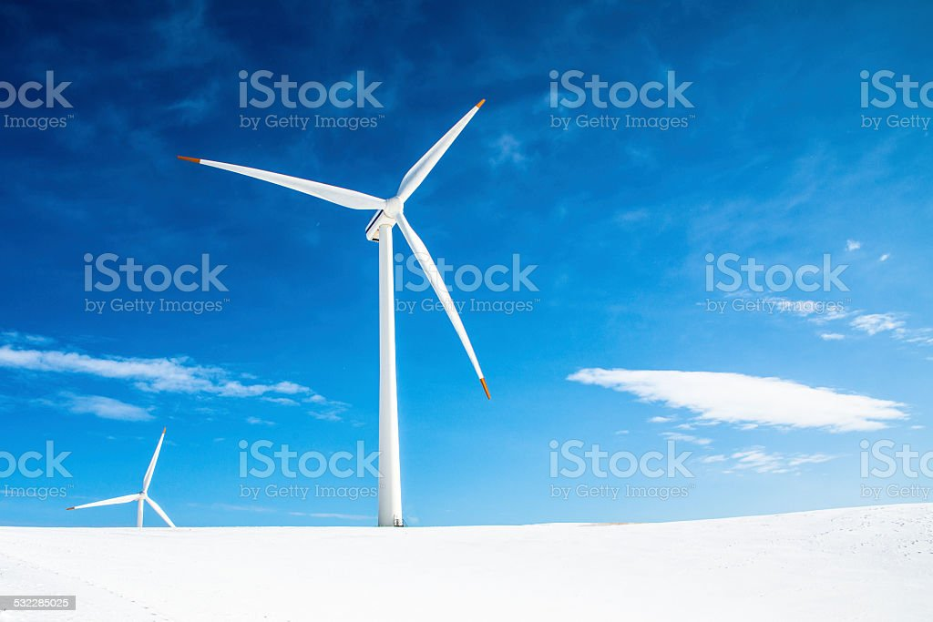 Winter Scape with windmill stock photo