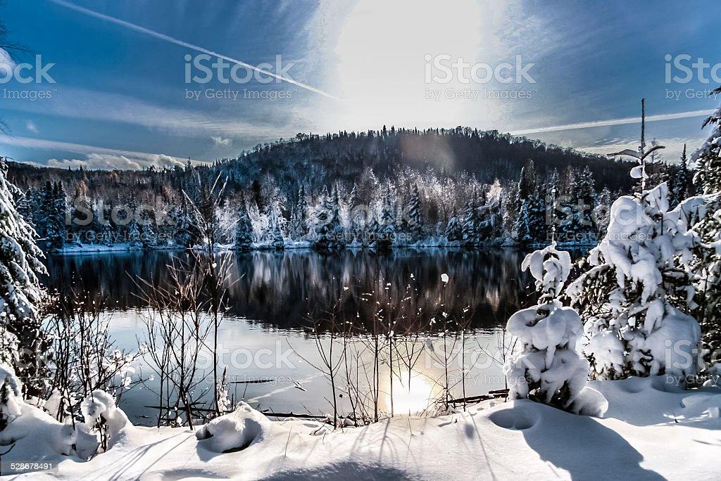 winter scene abroad a lake stock photo