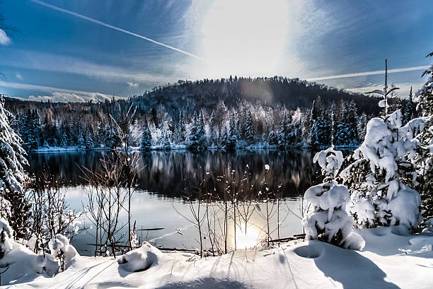winter scene abroad a lake stock photo