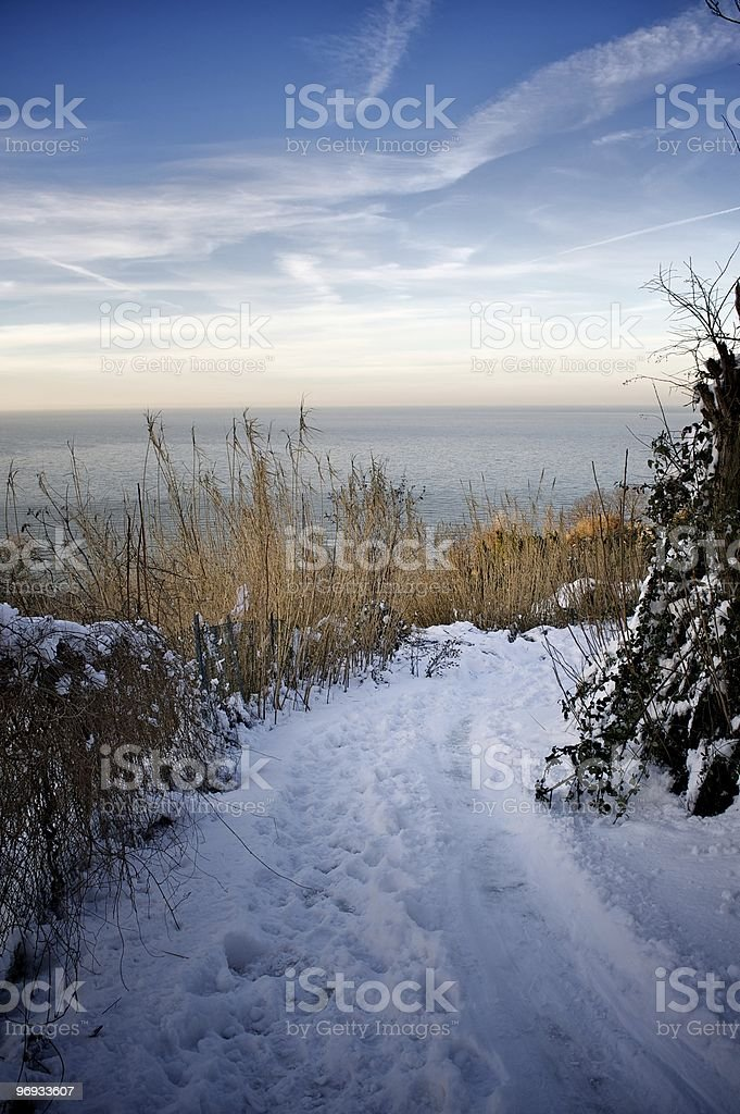 Winter scene at the sea royalty-free stock photo