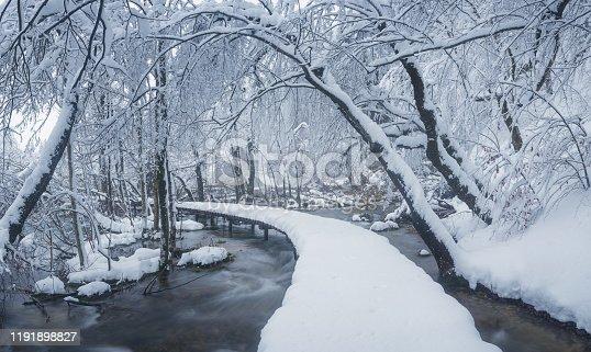 Winter scene boardwalk in Plitvice Lakes National Park - Croatia
