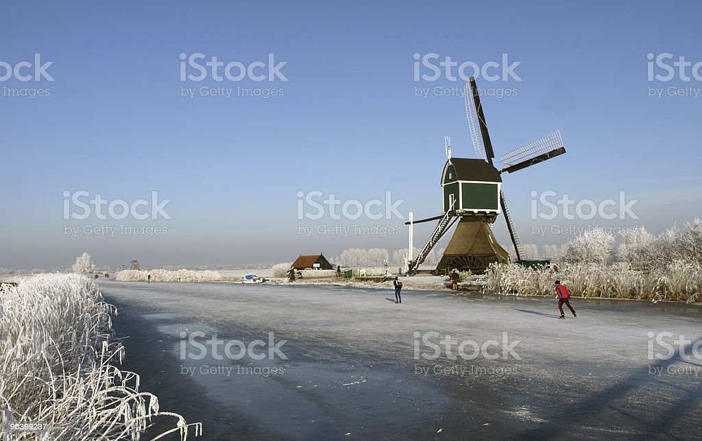 Winter scene in kinderdijk, the netherlands world heritage - Royalty-free Beauty In Nature Stock Photo