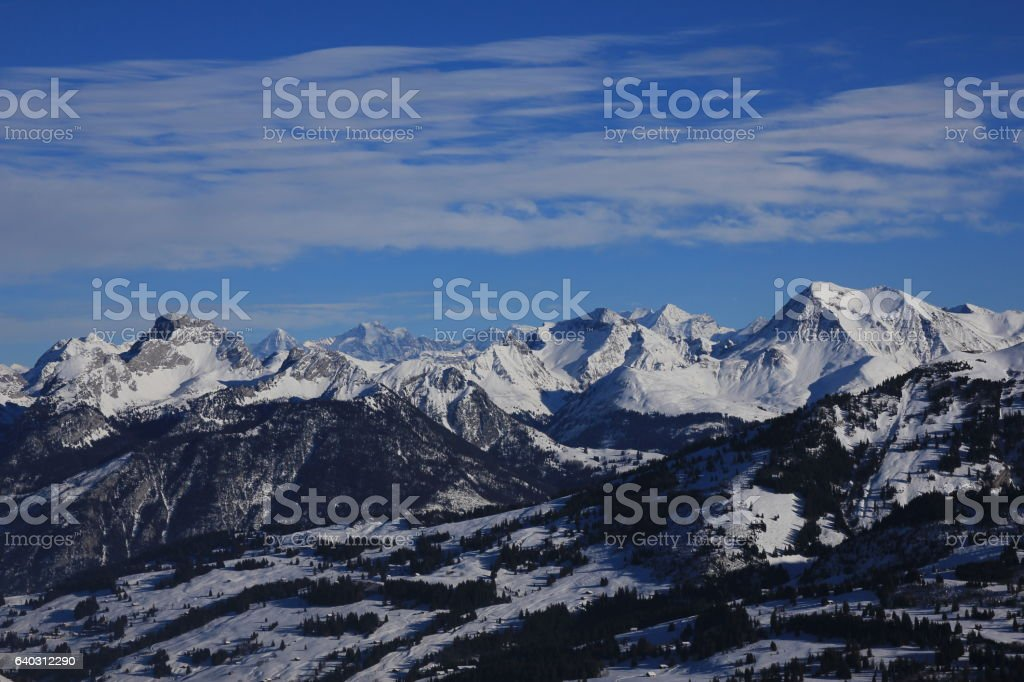 Winter scene in the Bernese Oberland stock photo