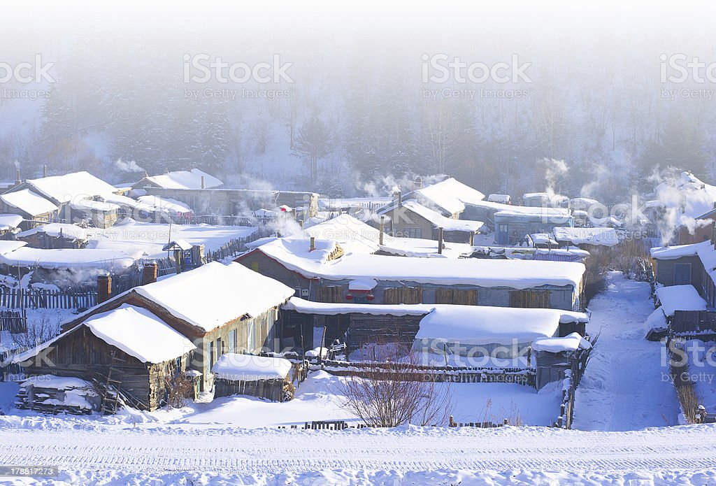 Winter scene in the northeast of china royalty-free stock photo