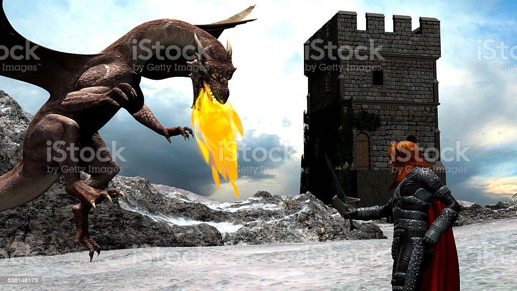 冬の勇敢なナイトシーン、喧嘩ドラゴン ストックフォト