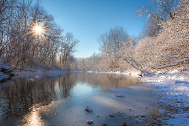 Winter scene on the creek stock photo