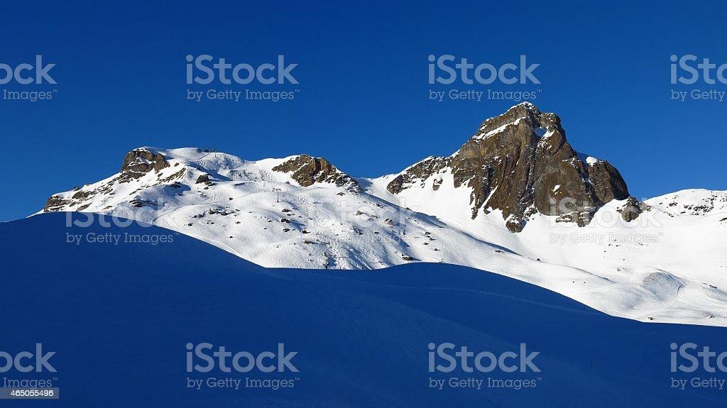 Winter scene on the Flumserberg stock photo