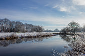 Winter Scene over the River Thames at Buscot, Oxfordshire, UK