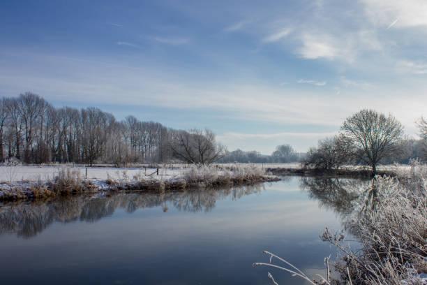 Winter Scene over the River Thames at Buscot, Oxfordshire stock photo
