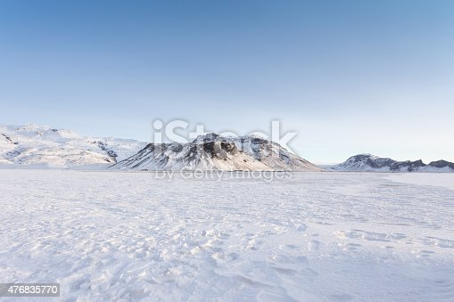 Winter Scene with Mountains and Blue Sky