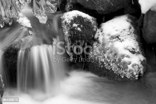 Waterfall, snow and natural ice creations in black and white
