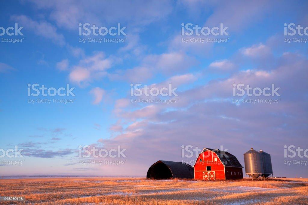 Winter Scene  Red Barn Saskatchewan Prairie Canada stock photo