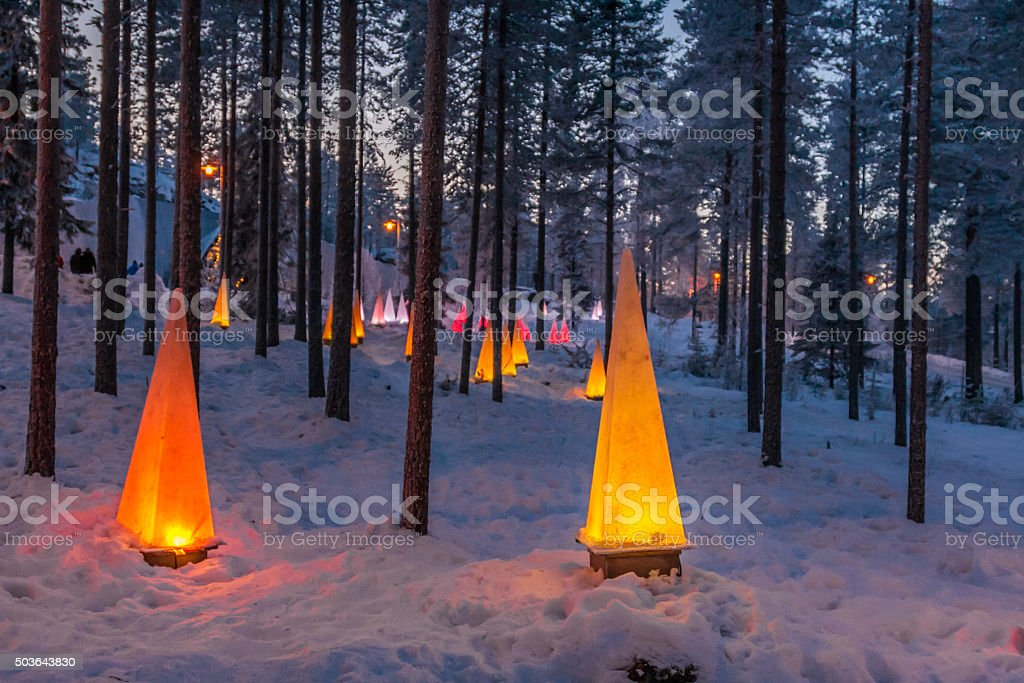Winter scene with flashlights stock photo