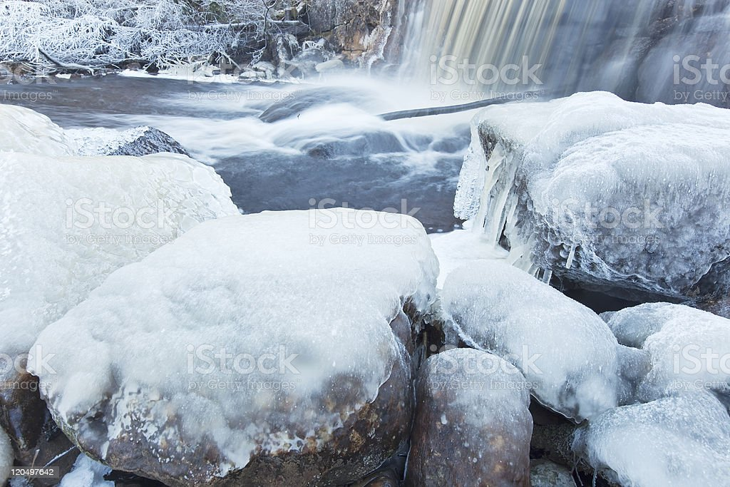 Winter scene with flowing water royalty-free stock photo