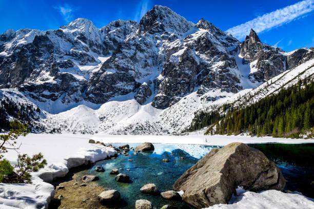 tatra 산, 폴란드에서에서 모르스키 이내 호수와 겨울 장면 - 카르파티아 산맥 뉴스 사진 이미지