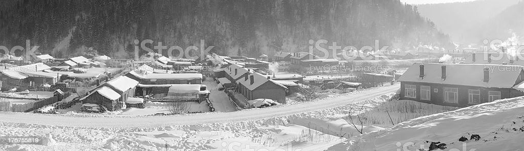 Winter scene with panoramic, Super size royalty-free stock photo