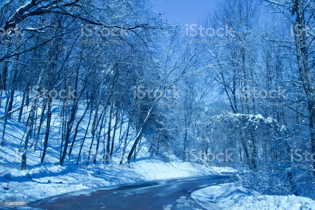 This background landscape shows a winter scene with snow covered...