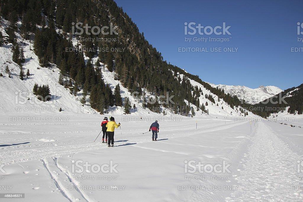 Winter scenery, cross-country skiing, Lüsens, Tyrol, Austria royalty-free stock photo