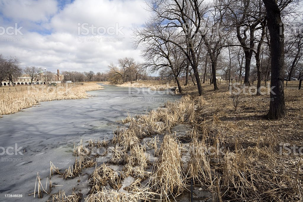 Winter Scenery in Humboldt Park royalty-free stock photo