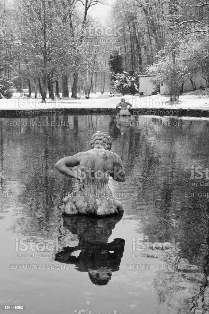 Winter scenery in the public garden of Hellbrunn, Salzburg, Austria. stock photo
