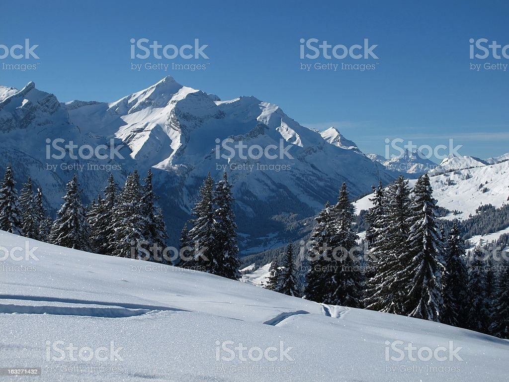 Winter scenery near Gstaad, Oldenhorn stock photo