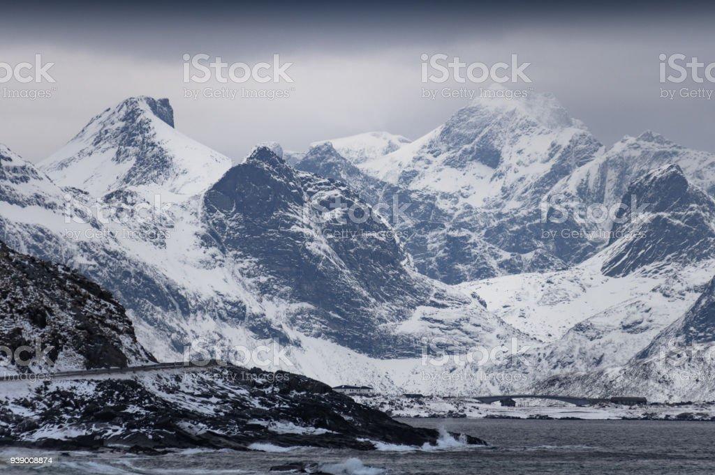 Lofoten kış manzarası royalty-free stock photo