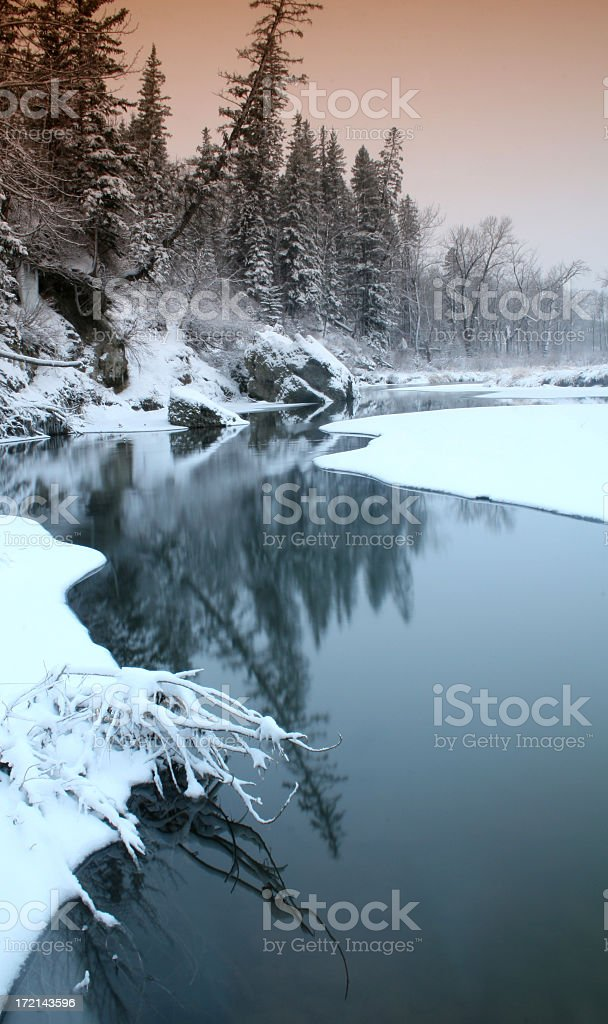 Winter Scenic Icy River Through Urban Park royalty-free stock photo