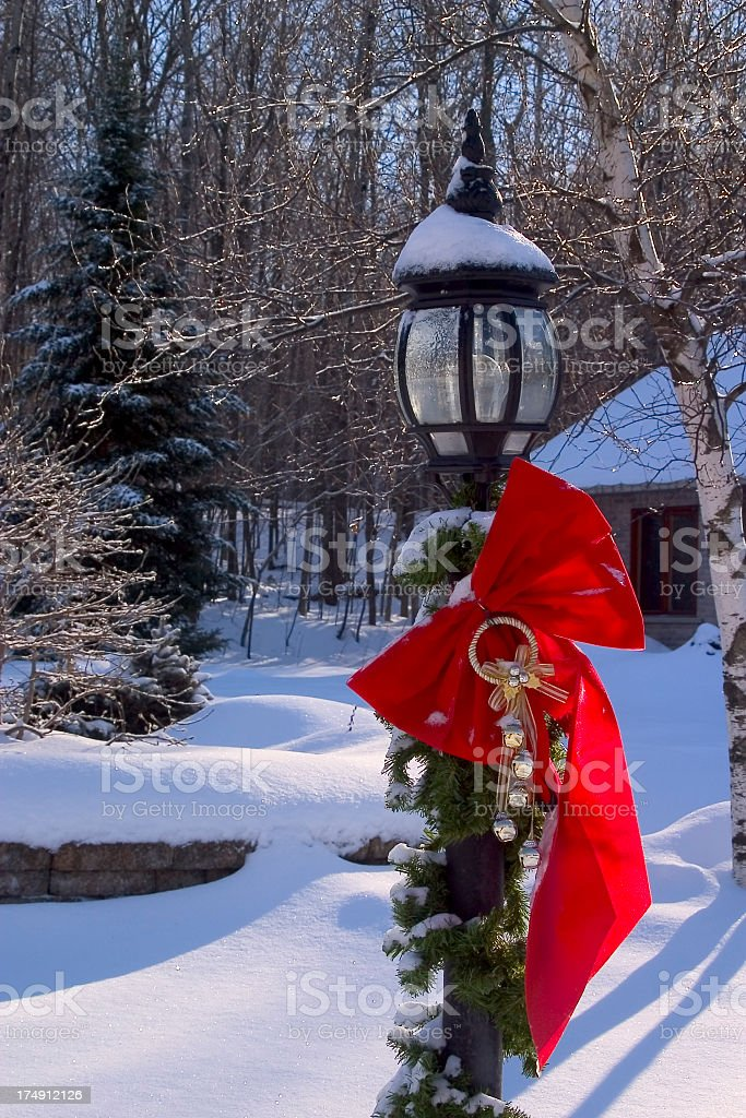 Winter Scenic Red Bow royalty-free stock photo