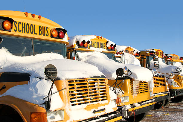 winter school buses - school buses stock pictures, royalty-free photos & images