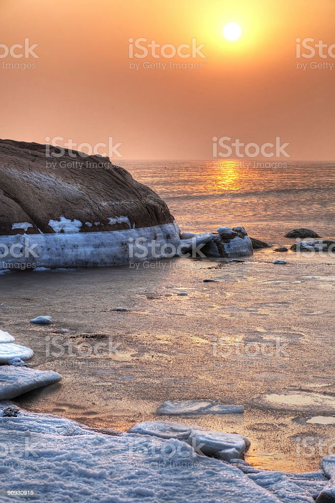 winter Sea sunset royalty-free stock photo