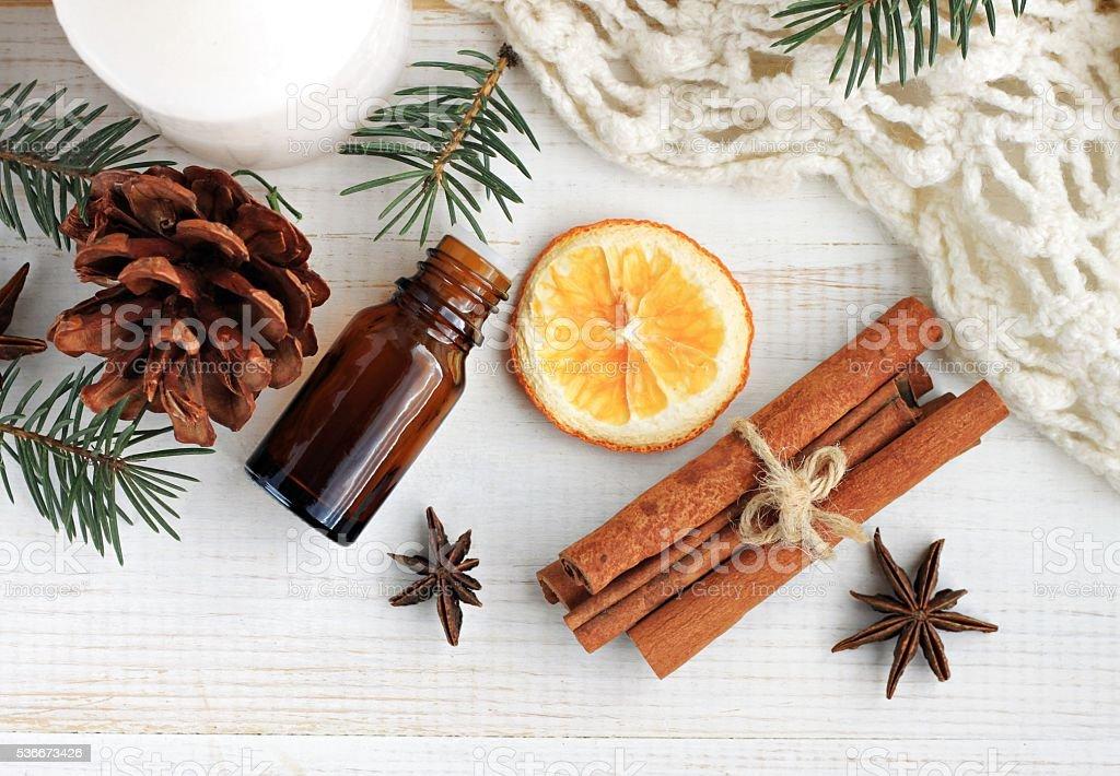 Winter season home fragrances blend. stock photo