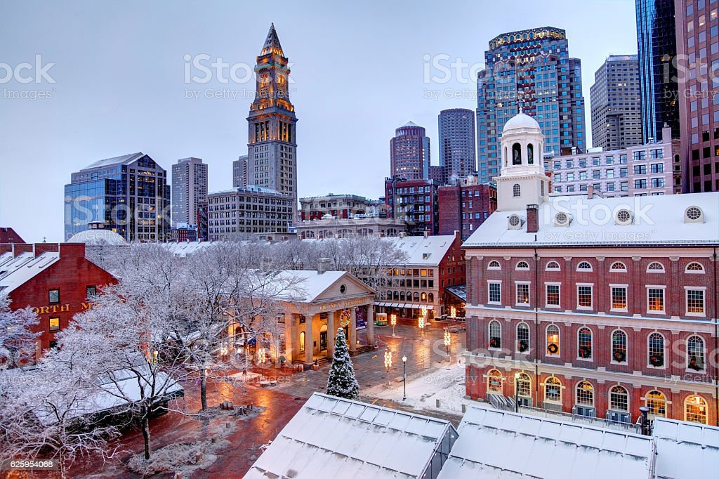 Winter season in Boston - foto de acervo