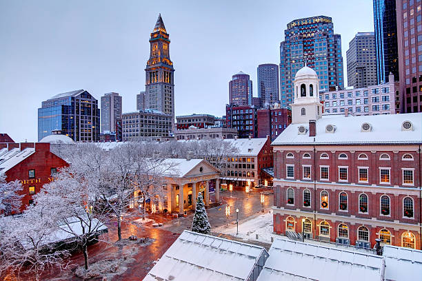 Winter season in Boston stock photo