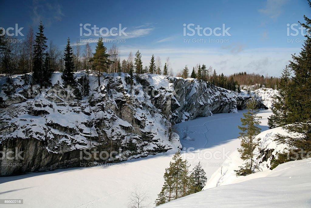 Winter Season on Marble Snowy Mountain royalty-free stock photo