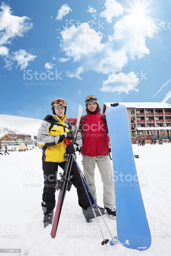 Winter season opening in Les 2 Alpes stock photo